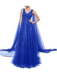 9b77063b42c9 Missdressy Elegant Chiffon Lang Tuell Spitze V-Ausschnitt Aermellos  Partykleid Ballkleid Festkleid Promkleid