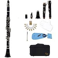 ammoon Klarinette mit 17 Klappen, flach, ABS bB-Klarinette (Sopran-Fernglas mit Kork-Fett Reinigungstuch 10 Stück, Blätter-Blätter (für Holzblasinstrument) schwarz