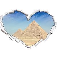 Egitto Piramidi di Giza a forma di cuore Meraviglie nel look, parete o adesivo porta formato 3D: 62x43.5cm, autoadesivi della parete, decalcomanie della parete, decorazione della parete
