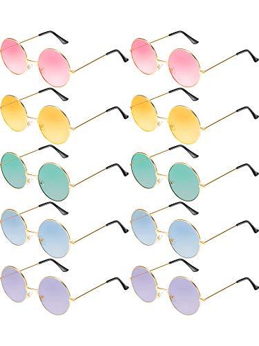 Blulu 10 Paar Runde Hippie Sonnenbrille John 60's Stil Kreis Farbige Gläser (Gold Rahmen)