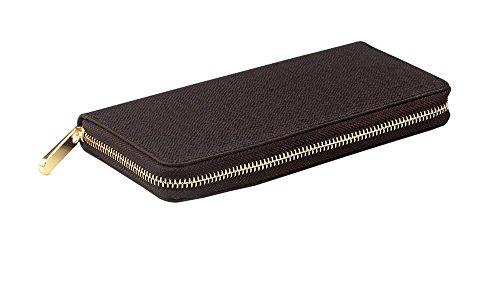 119,5x 10x 2,5cm (L x W x H) Herren Lang Leder Geldbörse Reißverschluss Business Herren Brieftasche Geld Clip schwarz