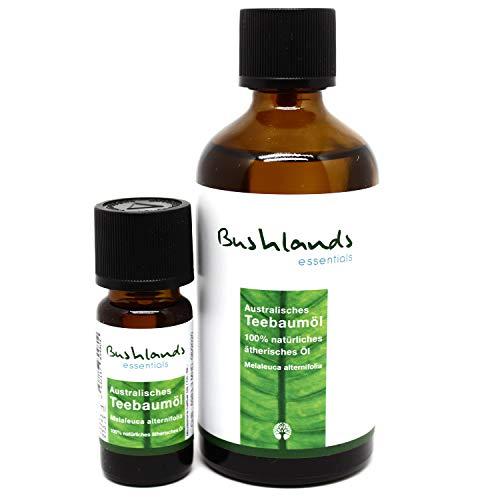 Bushlands essentials naturreines Teebaumöl 100ml + 10ml Reiseflasche - 100% naturreines, australisches ätherisches Öl