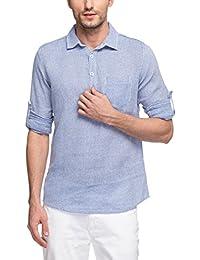 Nick&Jess Mens Sky Blue Dobby Three Button Cotton Kurta Shirt
