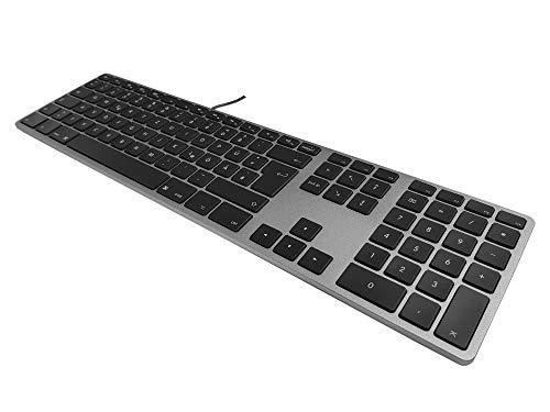 Matias FK318LB-DE Aluminum Wired Tastatur mit RGB-Hintergrundbeleuchtung USB Keyboard für Apple Mac OS | QWERTZ | Deutsch | mit flachen Tasten und zusätzlichem Ziffernblock - Space-Grey - Apple Wired Keyboard