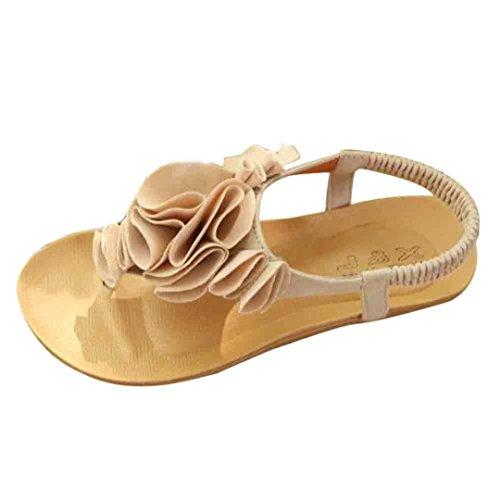 Elecenty Sandalen Damen,Schuhe Flip Flops Shoes Schuh Zehentrenner Sommerschuhe T-Strap Sandaletten Frauen 3D Blume Sommer Offene Flach Badesandalette Elegante Strandschuhe (40, Beige)
