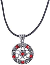 Lureme Anticuario Plata Supernatural Diablo Trampa Símbolo Sigil Collar Pendiente Pentagrama (nl005565)