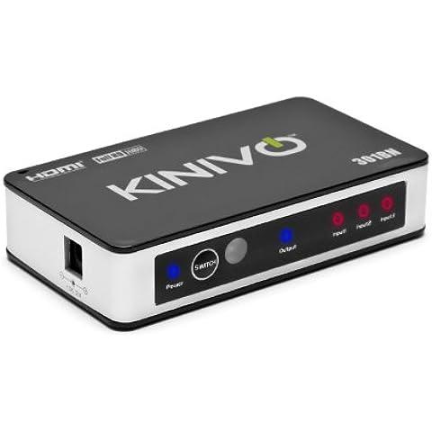Kinivo 301BN -  Conmutador HDMI de alta velocidad con 3 puertos y control remoto con sensor de infrarrojos y adaptador de corriente AC, compatible con 3D, 1080p