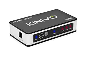 Kinivo Premium High speed HDMI switch with IR wireless remote and UK plug - supports 3D, 1080p (301BN - 3 Port)