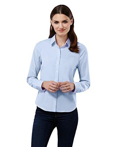EMBRÆR Damen Bluse, casual-fit, uni, Langarm mit Kontrasteinlage,hellblau,36
