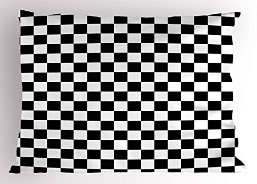 WEERQ Checkers Game Pillow case Geometric Grid Style Monochrome Squares in Traditional Game Board Design 30 X 20 inches -