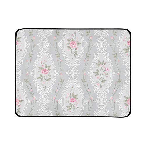 EIJODNL Lace Rose Bouquet Portable and Foldable Blanket Mat 60x78 Inch Handy Mat for Camping Picnic Beach Indoor Outdoor Travel Lace Boys Oxford