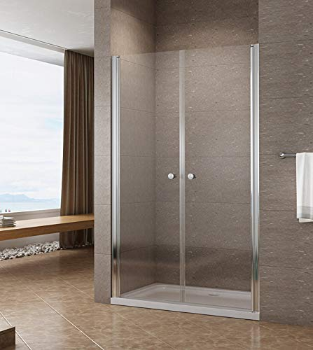 90cm Duschabtrennung Duschtür Nischentür Pendeltür Duschwand Schwingtür mit Nano Beschichtung Höhe 195cm klar