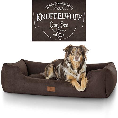 Knuffelwuff 13968-007 Hundebett Liam mit Vintage Aufdruck, XXL, 120 x 85 cm, braun