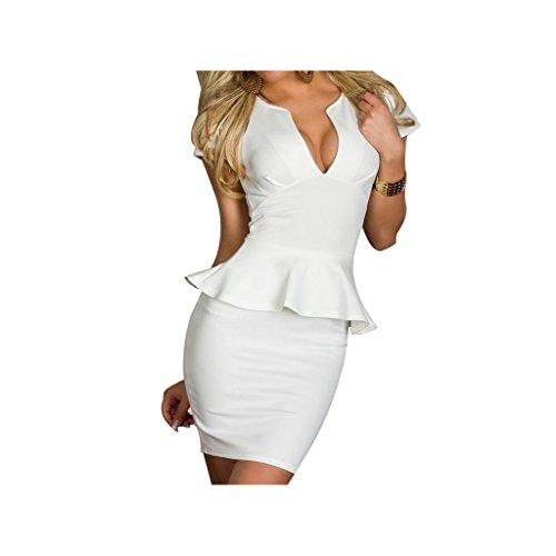 """Waooh - Fashion - Kurzes Kleid Schößchen """" Shannia """" Weiß"""