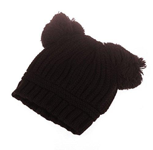 FEITONG Bebé lindo del muchacho de la muchacha de los niños Bolas de doble caliente Invierno de punto Beanie sombrero del casquillo