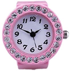 Gleader Girl Pink Alloy Quartz Pocket Finger Ring Watch Rhinestone Round Dial
