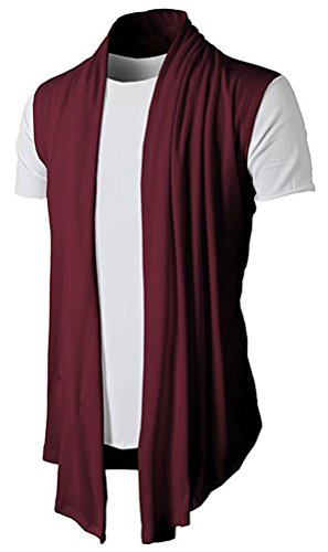 Brinny Herren Strickjacke Open Jacke Lang Cardigan Knit Mantel Strick Jacke Hoodie Hoody Sweatshirt Sweatblazer (DE L (Hersteller Größe XL), KS46-Weinrot)