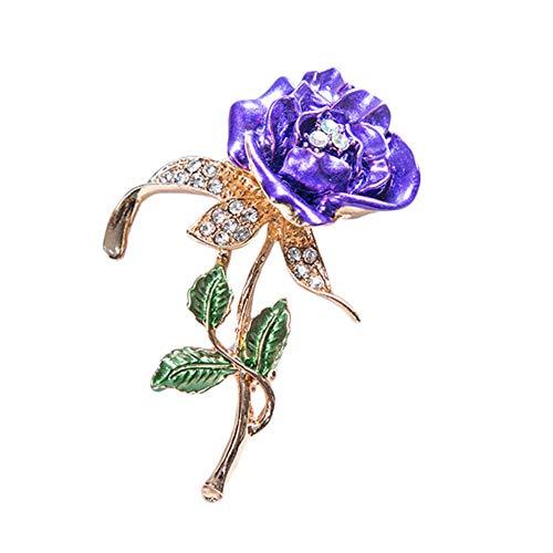 Meigold Diamant Brosche Dreiblättrige Rose Brosche Kleidung Zubehör Frauen Brosche Anstecknadeln vergoldet Legierung Size 5.8 * 3.6CM (Lila)