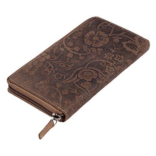 Stilord 'aurelia' portafoglio donna in pelle vera vintage con portamonete borsellino in cuoio portafogli grande formato orizzontale, colore:natura - marrone