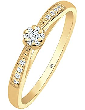 Diamore Damen-Stapelring Verlobungsring 585 Gelbgold Diamant (0.16 ct) weiß Brillantschliff