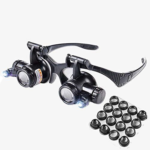 JIE KE Cxm Lupe, Fernglas Modell, LED-Juwelieruhr-Reparatur-Gürtel, 2,x bis 25x 8 x Linse, für ältere Menschen, HD-Lupe