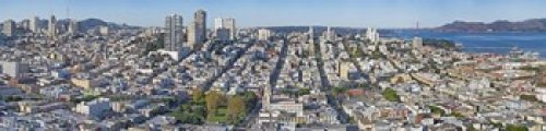 Tower Telegraph Hill (Panoramic Images - High angle view of a city Coit Tower Telegraph Hill San Francisco California USA Photo Print (50,80 x 12,70 cm))