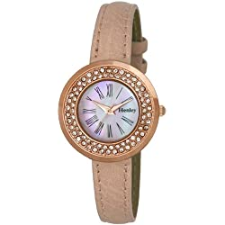 Henley Ladies Petite Rose Gold Diamante Fashion Women's Quartz Watch with Mother of Pearl Dial Analogue Display and Pink Plastic Strap H06076.15