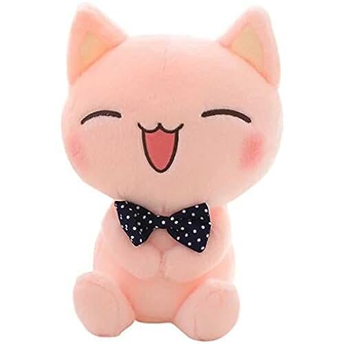 munecos dia madre kawaii Mamum gran cara del gato de peluche, simulación animal de felpa suave preciosa muñeca de la felpa del kawaii lindo gatito Altura: 18 cm rosa