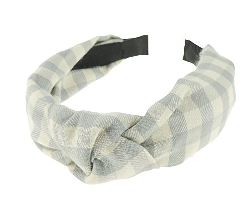 Damen Gingham Big Check Plaid Print Top Knoten Flanell Kopfband alice Band (Gingham Plaid Blau)
