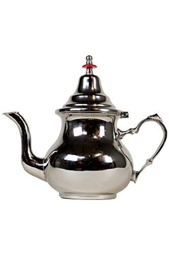 Marokkanische Teekanne aus Messing versilbert 0,8l mit Sieb und Griff | Orientalische Kanne Schlicht...