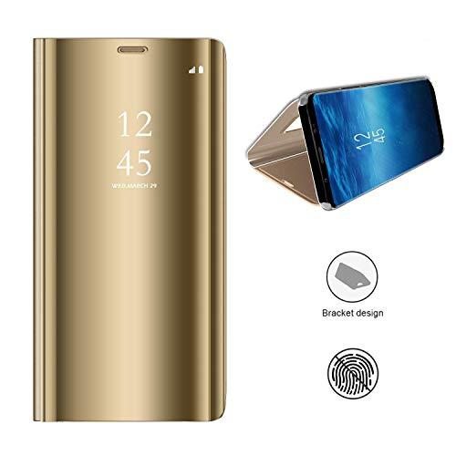 KISCO für Samsung Galaxy A8s Spiegel Hülle,Spiegel Ledertasche Handyhülle Spiegel Schutzhülle Protective Flip Schutzhülle Cover mit Standfunktion für Samsung Galaxy A8s-Gold