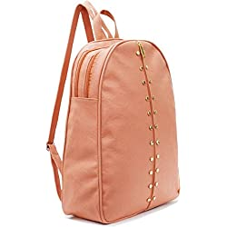 Typify Studded Casual Purse Fashion School Leather Backpack Shoulder Bag Mini Backpack for Women & Girls (Peach)