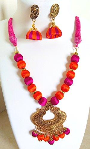 Akalpaniya Creations Designer Orange, Pink & Golden Silk Thread Jewellery Set For Women (AK09)