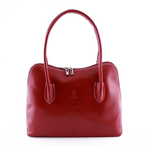 Borsa Da Donna In Vera Pelle A Spalla Con Struttura Rigida Colore Rosso - Pelletteria Toscana Made In Italy - Borsa Donna