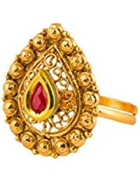 Bindhani® Traditional & Ethnic Gold Plated Finger Ring For Women (Adjustable, Golden Stone) - B06XSFKRFF
