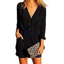 YOINS Mini Robe Femme D'été Petite Robe Taille Haute Robe De Printemps Jumpsuit Combinaisons Dress Robe Courtes Col V Robe-Noir EU 40-42