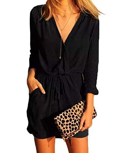 YOINS Jumpsuit Damen Elegant V-Ausschnitt Sexy Kleid Langarm Overall Einteiler Damen mit Bindegürtel Kleid-schwarz EU36-38