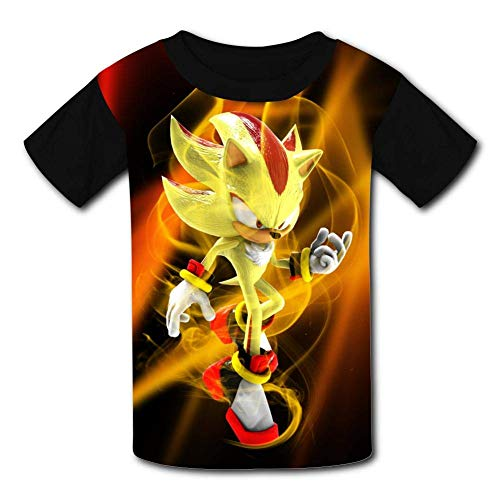 Kinder Jugendliche Kurzarm T-Shirt, Gold Shadow The Hedgehog So-NIC Kids T-Shirts Short Sleeve Tees Summer Tops for Youth/Boys/Girls (Youth Tee Sonic)