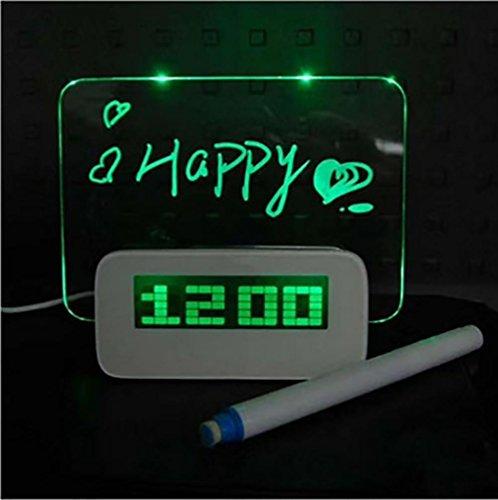 ktions-LED Digital Wecker / Kalender / Thermometer / Leuchtstoff Notizblock + Textmarker mit 4 USB Ports, Weihnachten / Halloween / Neujahr / Geburtstagsgeschenk , green (Kinder-halloween-songs-cd)