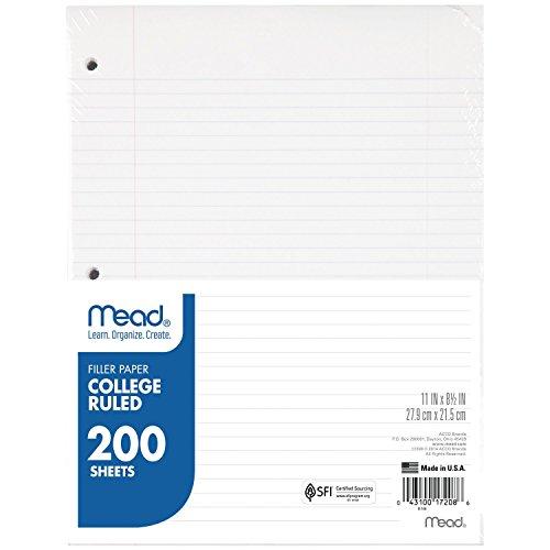 Mead Füllpapier, Lose Blatt, College, liniert, 200 Blatt College-Liniert Pack of 1 Original Version (Mead Notebook Binder)