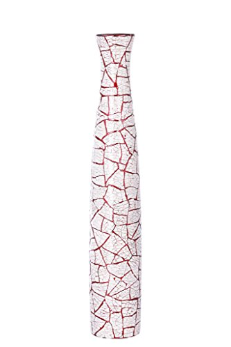 Asian Artisans Long corner vase Red with shells