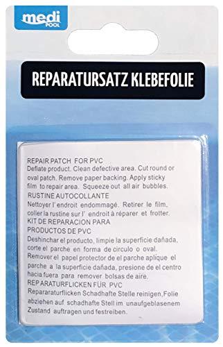 Reparatursatz Klebefolie (Abziehfolie) Poolreparatur - selbstklebende Reparatur-Flicken von mediPOOL - für alle aufblasbaren Plastikgegenstände - Unterwasser-Reparaturen im Pool