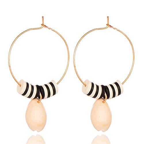 Zuiaidess orecchini a bottone donna,naturali unici big shell orecchini pendenti per le donne di moda colore nero orecchini a pendente fascino gioielli doni