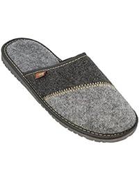BeComfy Pantoufles en Feutre Pour Hommes | Ultra-Léger | Chaussures avec des Semelles en Caoutchouc (Option avec Semelle Intérieure Profilées)