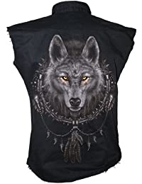 Spiral Chemise sans manches pour homme Motif Wolf Dreams Noir délavé