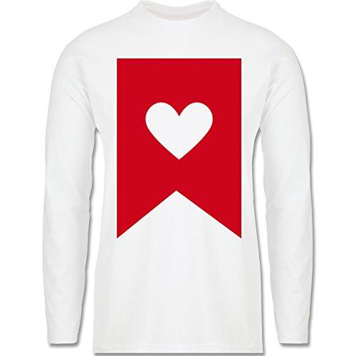 Symbole - Herz - Longsleeve / langärmeliges T-Shirt für Herren Weiß