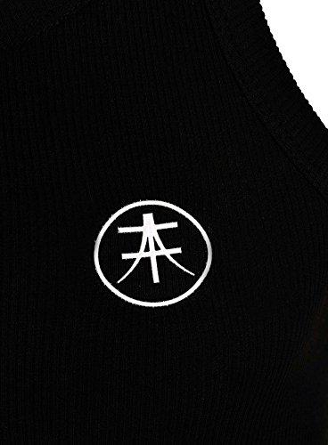 Akito Tanaka TankTop Herren Männer Rip Gerippt Brustlogo ärmellos tiefer breiter Rundhals Muscle Shirt Schwarz
