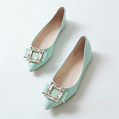 Shoeshaoge pour femme Chaussures PU Spring Confort appartements Talon Plat Bout Pointu Strass pour décontracté Amande Blushing Rose Vert Green