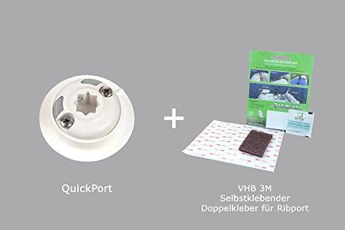 Set: Railblaza QuikPort Halterung Außenhaut (weiß) + VHB 3M Pad, 03-4087-21
