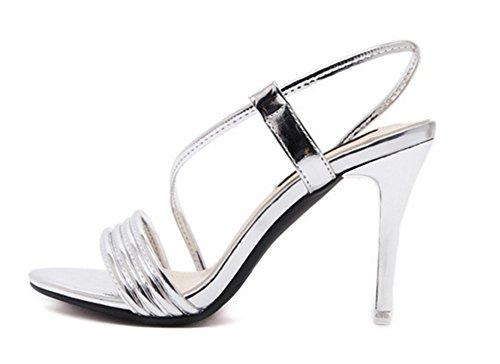 Aisun Damen Elegant Metallglanz Seitlich Offene Stiletto Rutschfest Pumps Sandale Silber